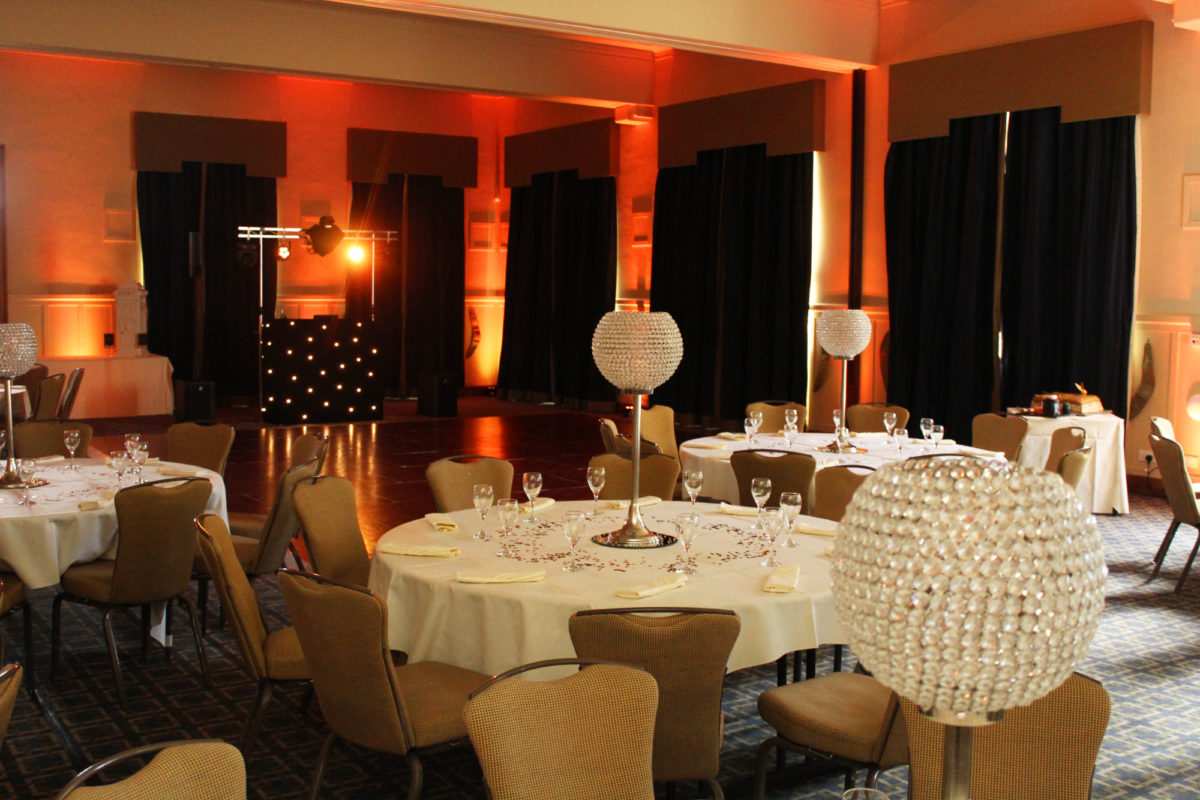 Uplighting at Easterbrook Hall Dumfries